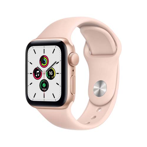 Apple Watch SE 44mm Gold Aluminium Case with Sport Band розовый 1-satelonline.kz